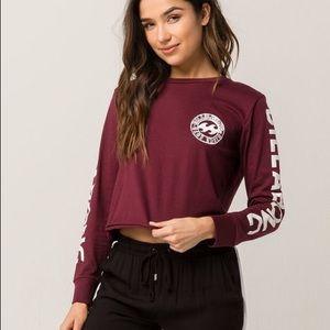 BILLABONG: burgundy long sleeve shirt w/logo
